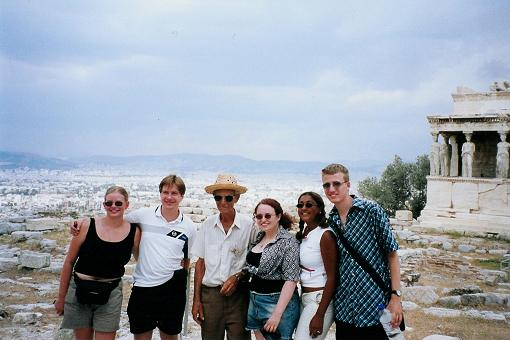 The motley crew up the acropolis