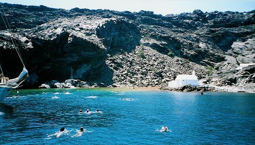 Swimming in the bay at Santorini